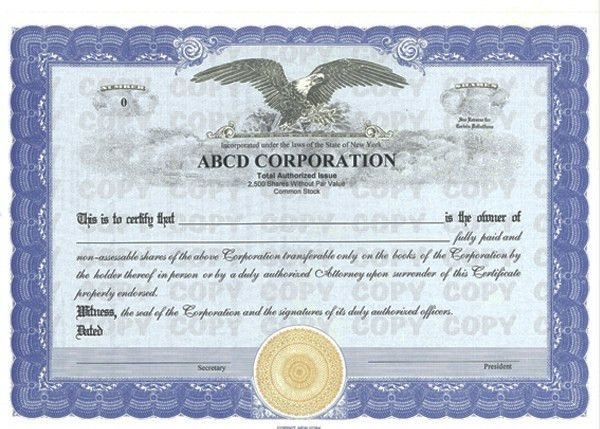 Custom Stock Certificates