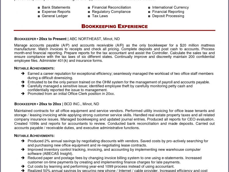 Nice Looking Bookkeeper Resume 15 BOOKKEEPING RESUMEpicturesque ...