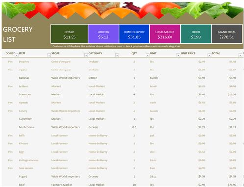 Grocery list - Office Templates