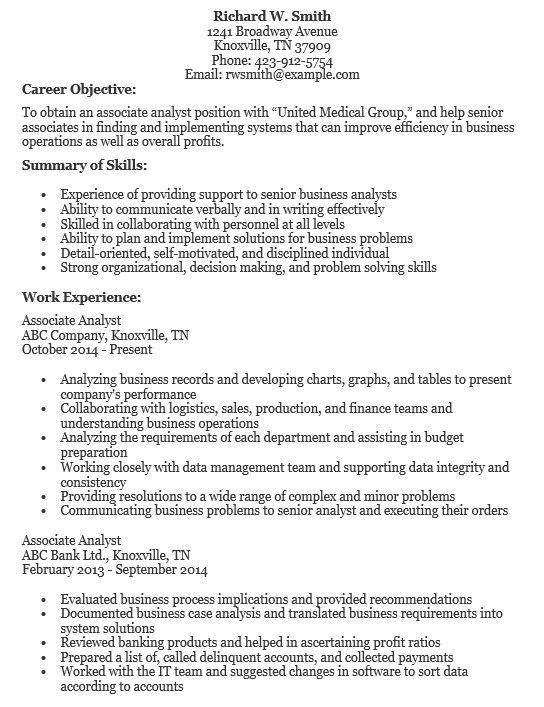 16 Free Sample Associate Analyst Resumes – Sample Resumes 2016