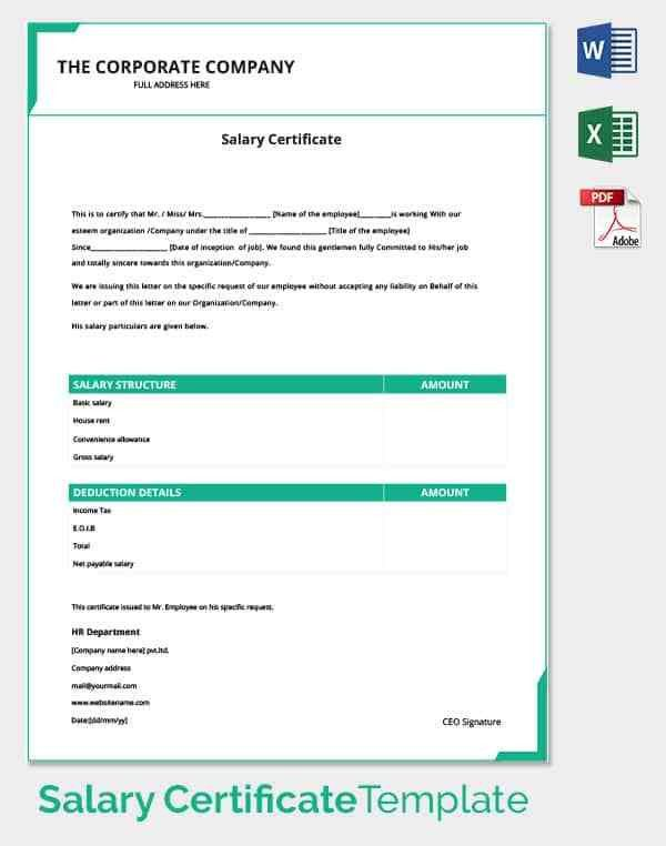 Salary Certificate Template - 25+ Free Word, Excel, PDF, PSD ...