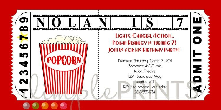 Movie Ticket Printable Birthday Invitation - Dimple Prints Shop