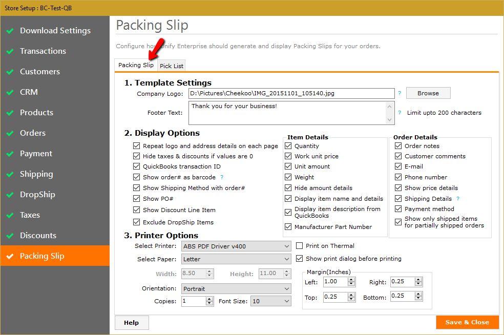 12. Setup Packing Slips and Pick Lists. – Help Desk