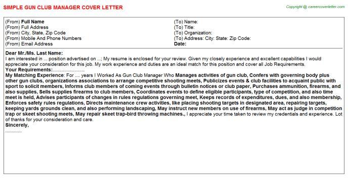 Gun Club Manager Job Title Docs