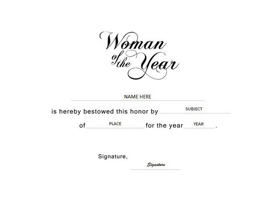 Woman of the Year Certificate Landscape Free Templates Clip Art ...