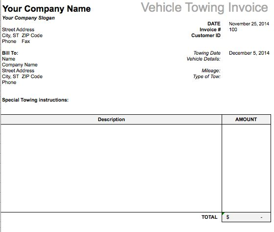 Vehicle Towing Invoice Template | Free Invoice Templates
