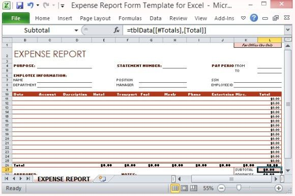 Expense Report Form Template For Excel