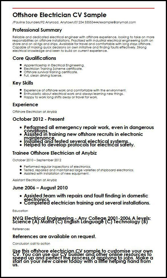 Offshore Electrician CV Sample | MyperfectCV