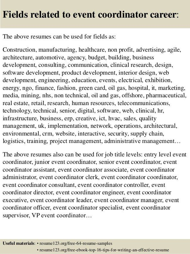 top 8 event coordinator resume samples