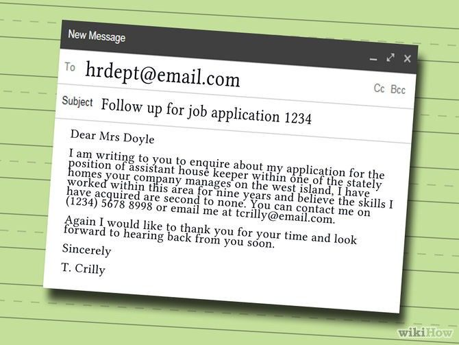 Follow up letter on job application