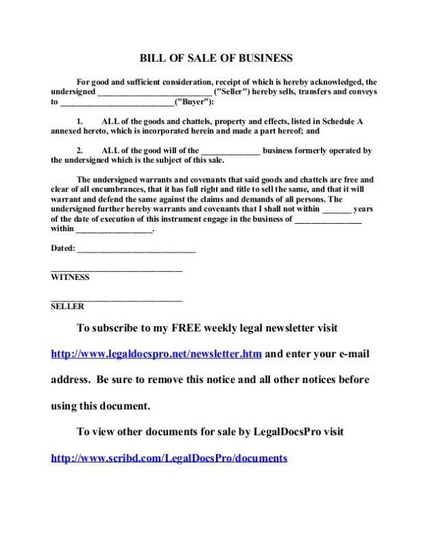 Free Business Bill Of Sale Template Example : Helloalive