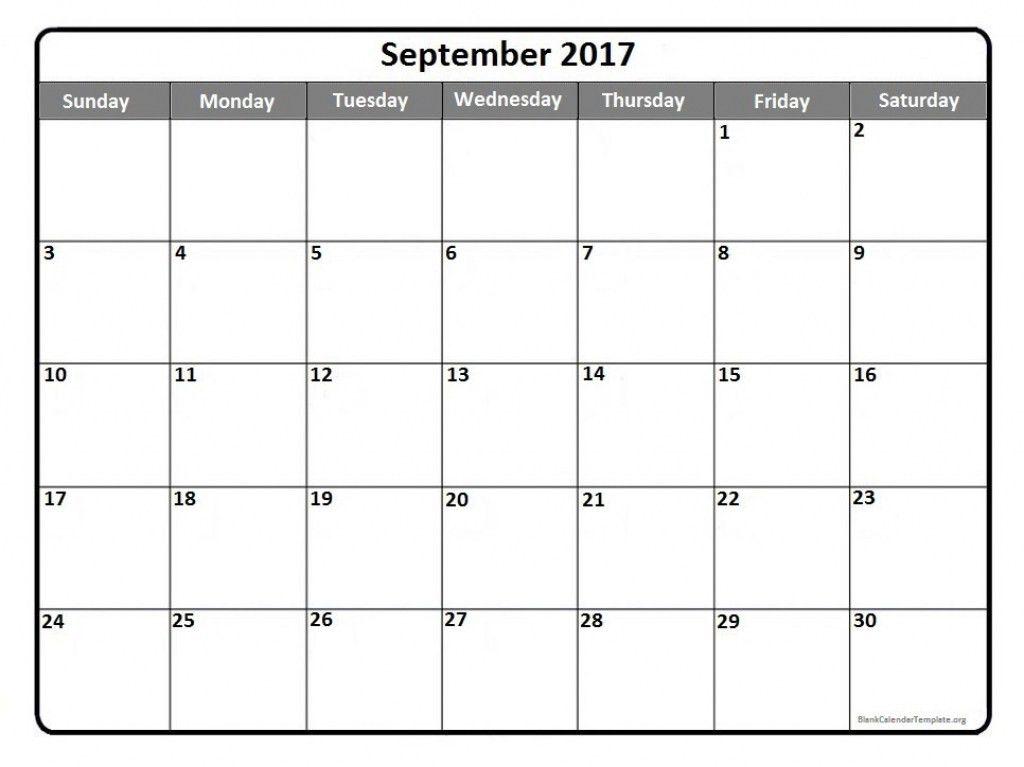 Blank September 2017 Calendar Weekly Calendar Template Sample ...