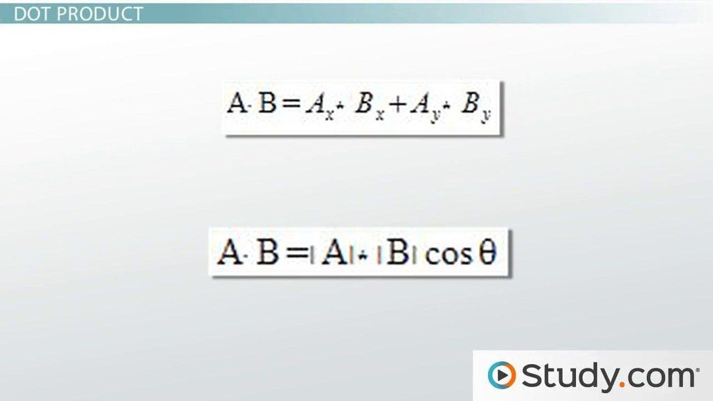 The Dot Product of Vectors: Definition & Application - Video ...