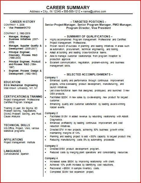 Professional Summary Resume Examples