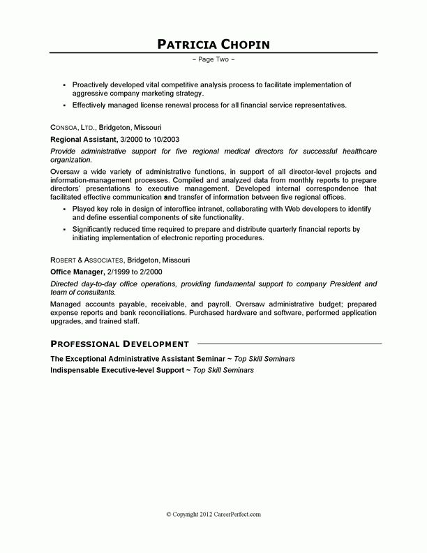 Executive Assistant Sample Resume | Free Resumes Tips