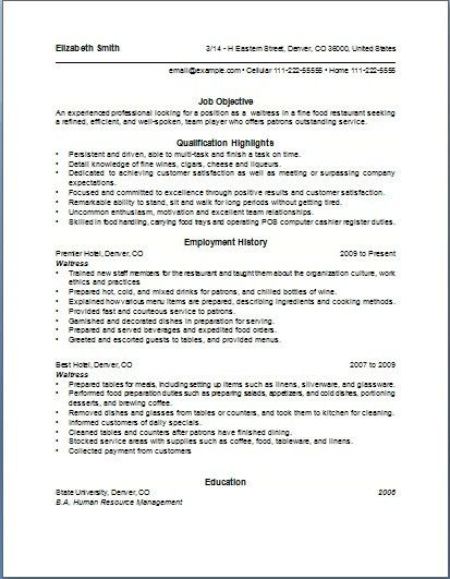 Waitress Resume Example | haadyaooverbayresort.com