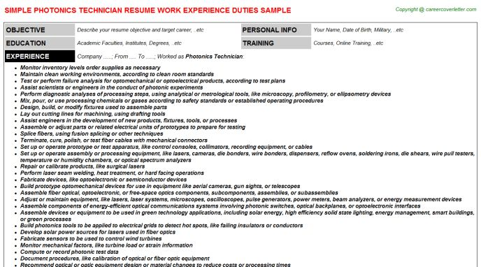 Photonics Technician Resume Sample