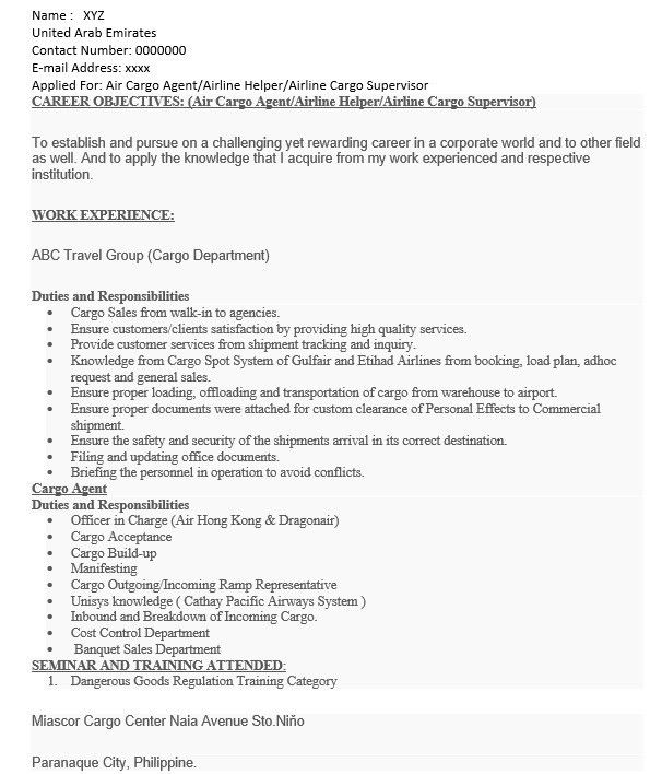 16 Free Sample Cargo Agent Resumes – Sample Resumes 2016