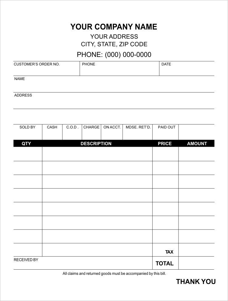 Small Sales Receipt Template Forms