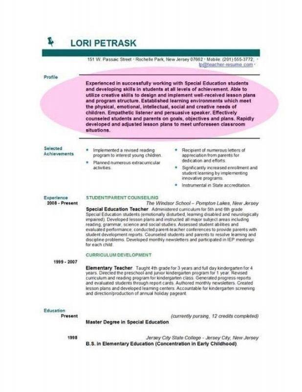 objective on resume for teacher