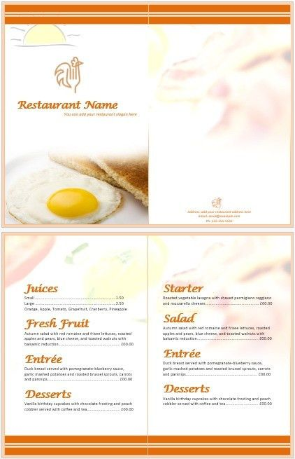 Sample Breakfast Menu Template. Restaurant Menu Design And ...