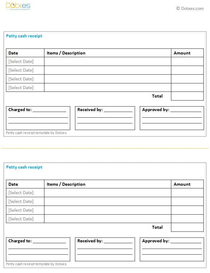 Petty Cash Receipt Template (Multiple Payments) - Dotxes