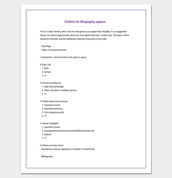 Biography Outline Format | Outline Templates - Create a Perfect ...