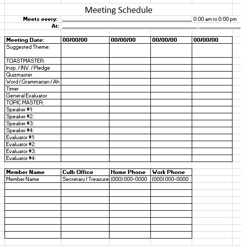Meeting Schedule Template – 10 Free Templates | Schedule Templates
