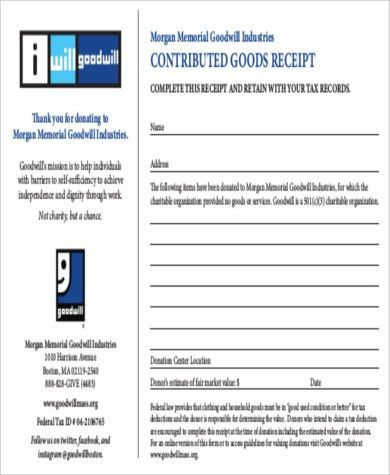 Goodwill Donation Receipt - 7+ Examples in Word, PDF