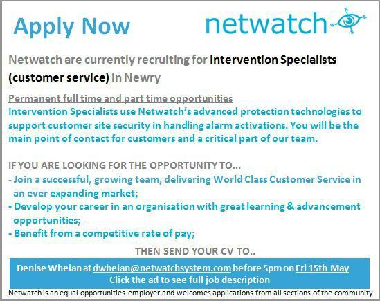 New Exciting Job Opportunities with Netwatch, Newry