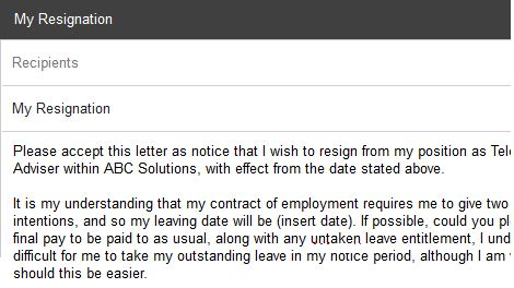 Resignation Email Subject Line Examples - icover.org.uk