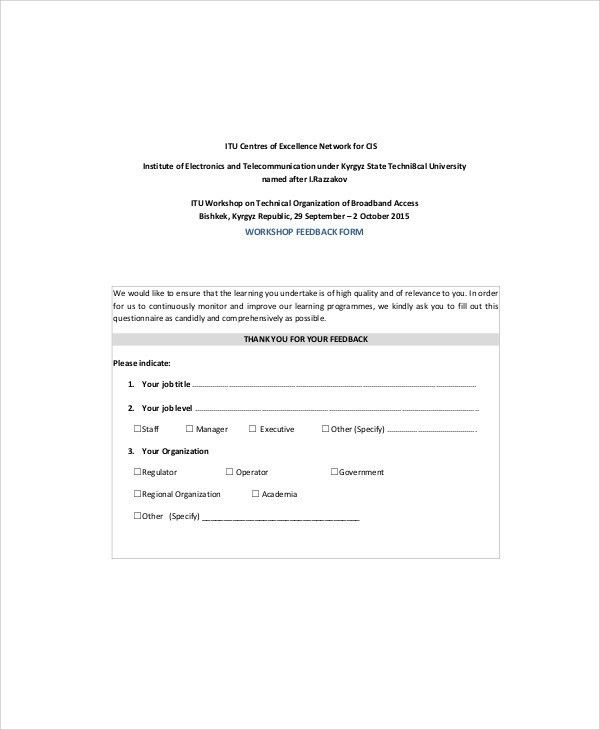 Sample Workshop Feedback Form  7+ Examples In Word, PDF
