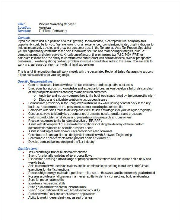 9+ Marketing Manager Job Description - Free Sample, Example ...