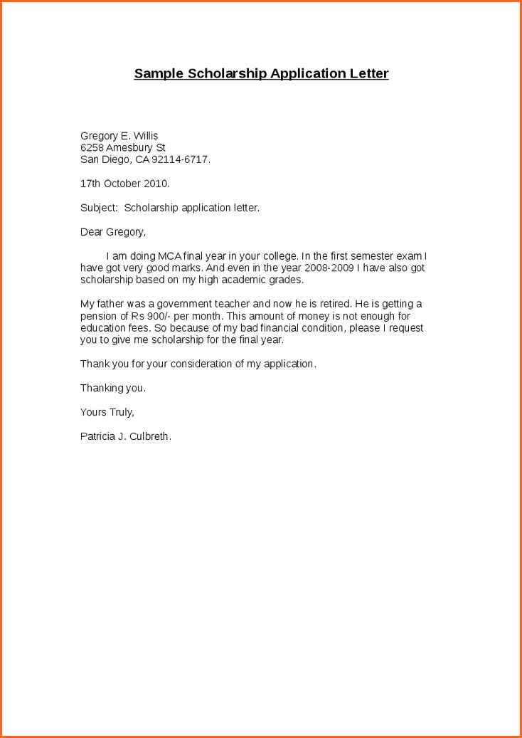 Application letter template for scholarship & Sample Concluding ...