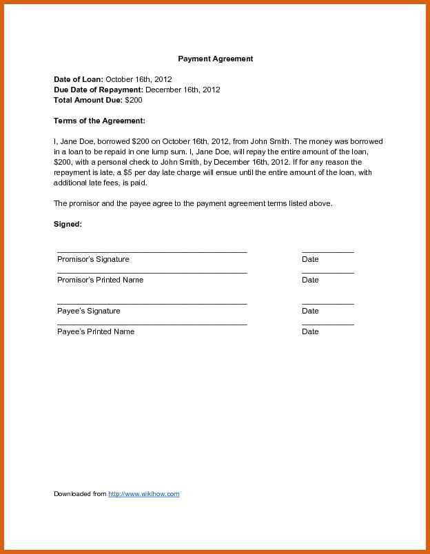 payment agreement contract | apa examples