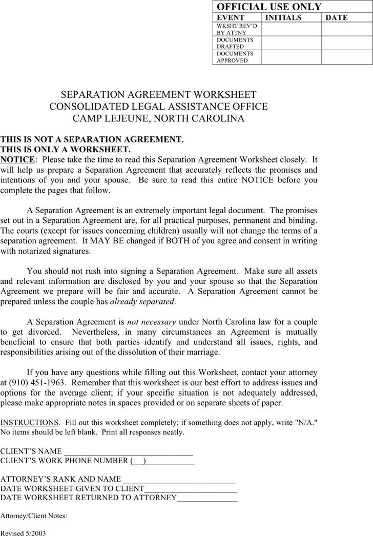 Separation Agreement Template Nc | Template idea