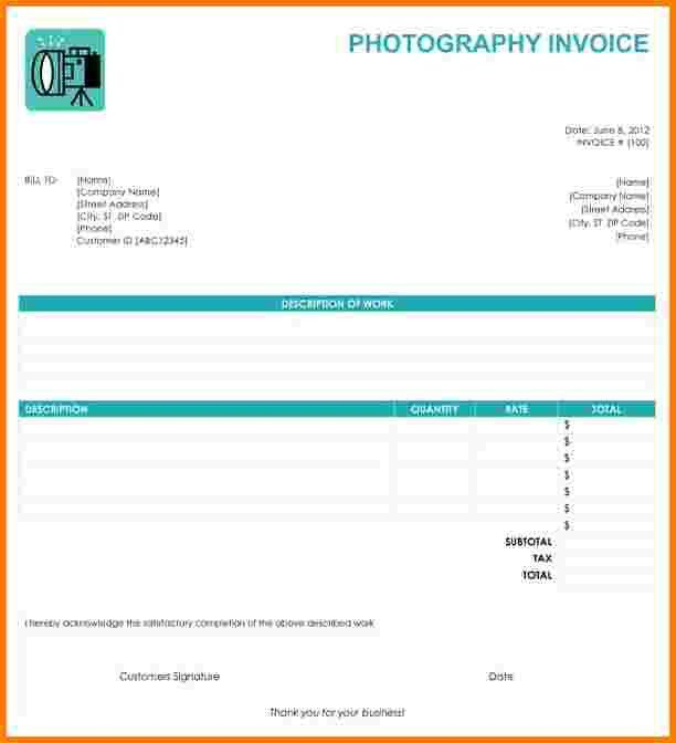 7 photography invoice template | Receipt Templates