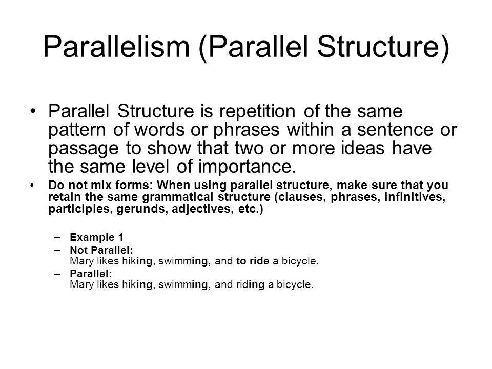 Rhetorical Tropes and Schemes. Parallelism (Parallel Structure ...