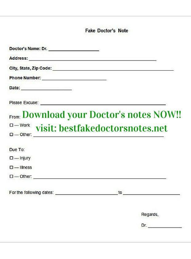 Doctor Note Template - Corpedo.com