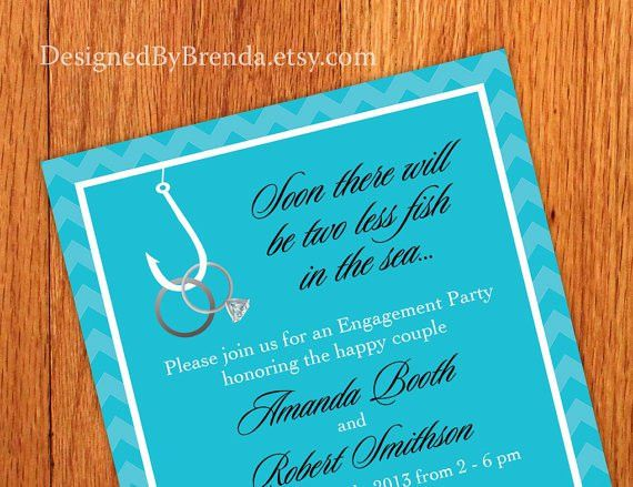 Chevron Engagement Party Invitations - Two Less Fish In The Sea ...