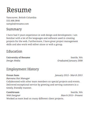 Download Sample Basic Resume | haadyaooverbayresort.com