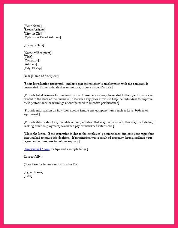 termination letter template | bio letter format