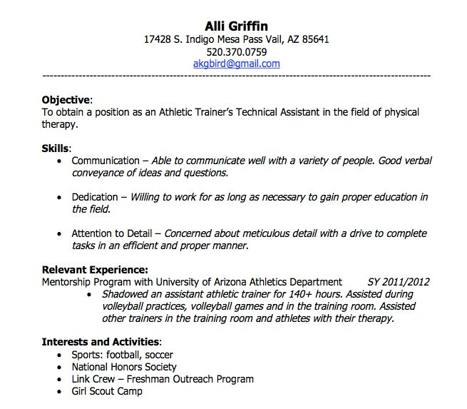 Resume Examples. Student Athletic Resume Template Cover Letter ...