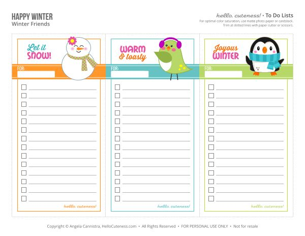 Free Printable Winter To Do Lists | Planner Junkies Printables ...
