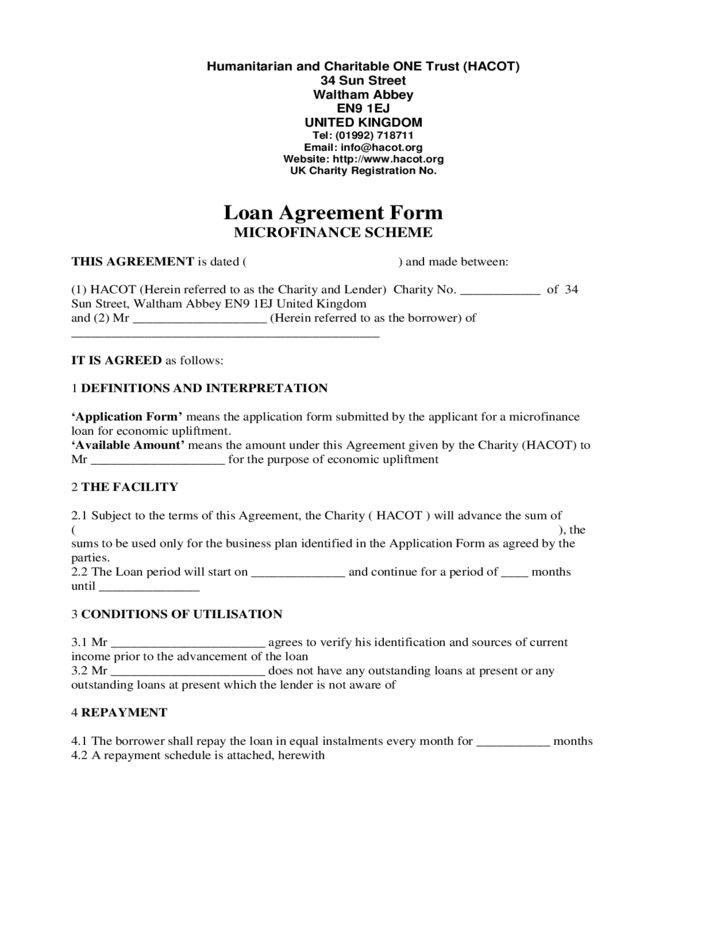 Loan Agreement Form Micro Finance Scheme Free Download