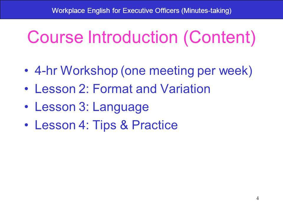 1 Workplace English for Executive Officers (Minutes-taking) Lesson ...