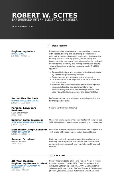 Engineering Intern Resume samples - VisualCV resume samples database