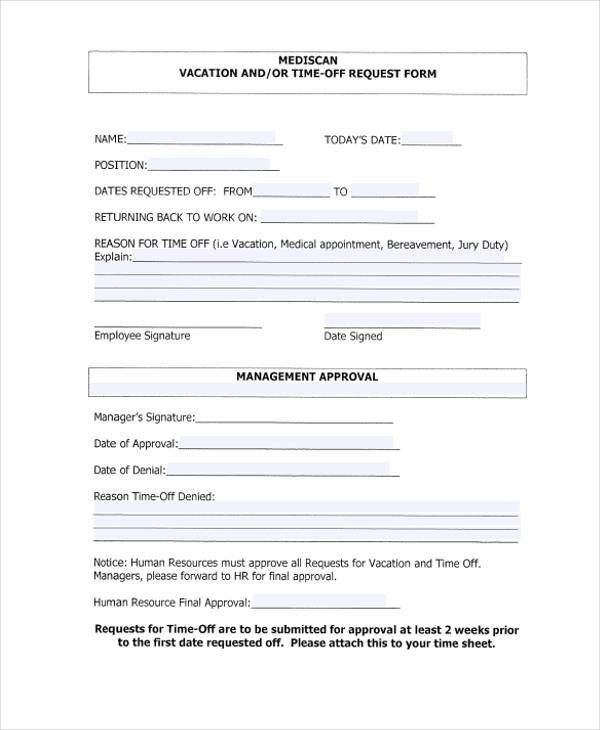 ... Time Off Request Forms Find Word Templates Vacation Request Form Sample  Sample Vacation Request Form 8 ...