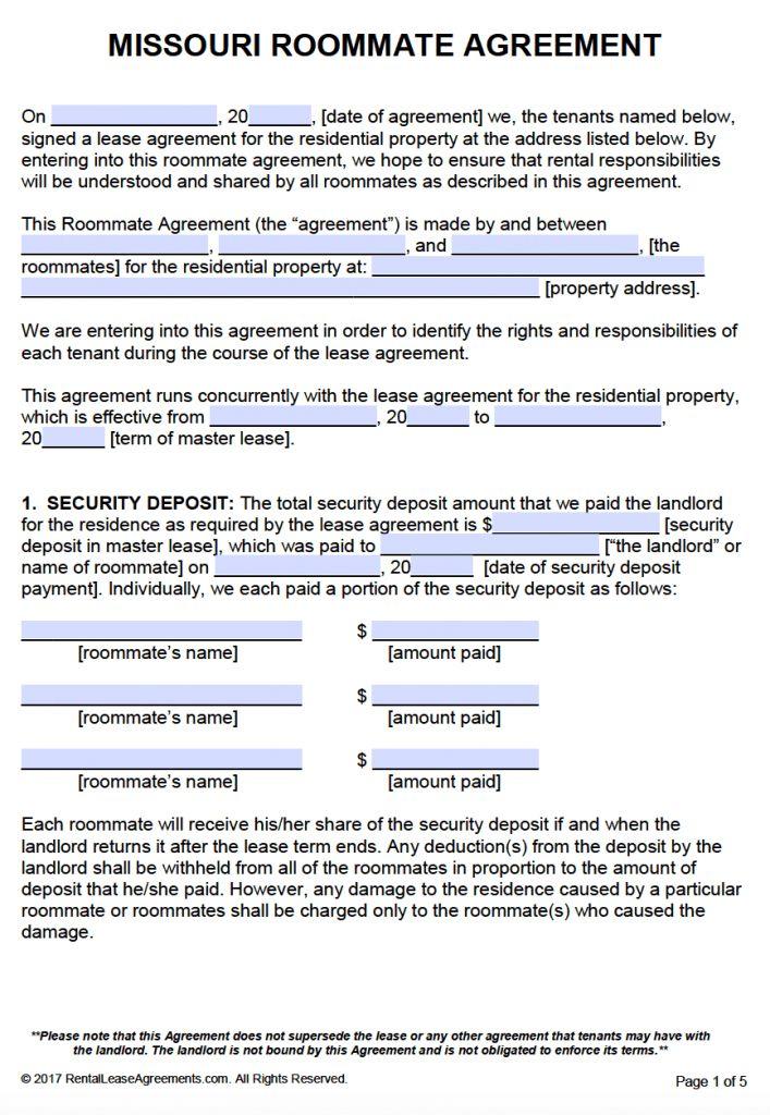 Free Missouri Roommate Agreement Template – PDF – Word