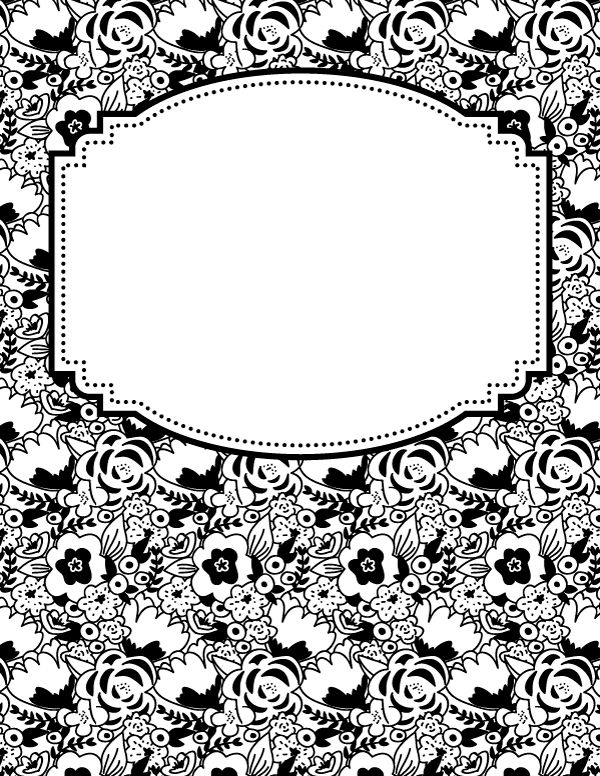 Free printable black and white flower binder cover template ...